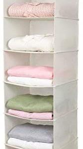 MAX Houser 6 Tier Shelf Hanging Closet Organizer, Cloth Hanging Shelf with 2 Sturdy Hooks,for Storage,Foldable (Beige)