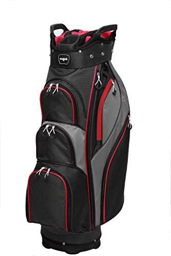 Majek Premium Men's Black Red Charcoal Golf Bag, Full Length Dividers with Putter Sleeve