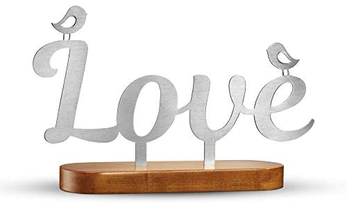 NOX Design Love Sign with Wooden Stand - Love Decor - Love Signs for Home Decor - Letter Love Metal Sign - Letras Love - Love Sculpture Home Decor - Metal Letters Decor for Living Room