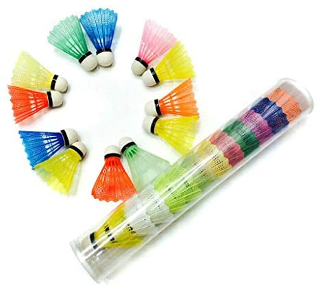 ONTO-MATO 12PCS Highly-Visible Brightly-Colored Badminton Ball Plastic Durable Sports