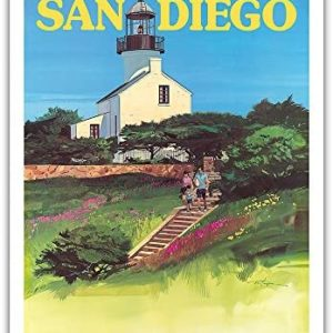 Pacifica Island Art San Diego, California - Old Point Loma Lighthouse - Vintage Airline Travel Poster by Tom Hoyne c.1973 - Fine Art Print - 11in x 14in