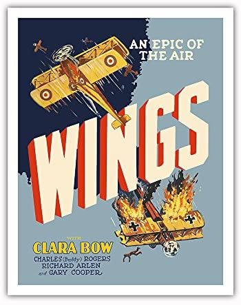 Pacifica Island Art Wings - An Epic of the Air - Starring Clara Bow and Gary Cooper - First Oscar Winner for Best Picture - Vintage Film Movie Poster c.1927 - Fine Art Print - 11in x 14in