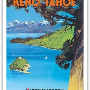 Reno, Nevada - Lake Tahoe, California - United Air Lines - Vintage Airline Travel Poster by Tom Hoyne c.1965 - Fine Art Print - 11in x 14in