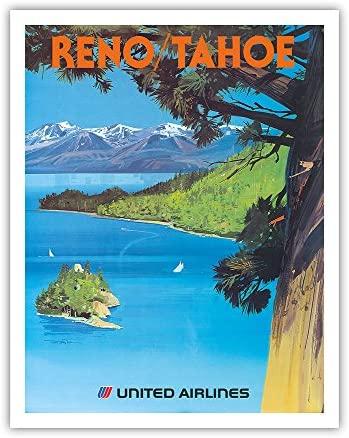 Reno, Nevada - Lake Tahoe, California - United Air Lines - Vintage Airline Travel Poster by Tom Hoyne c.1965 - Fine Art Print - 11in x 14in