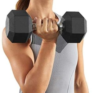 Sanmomo Barbell Set of 2 Hex Rubber Dumbbell with Metal Handles Pair of 2 Heavy Dumbbell