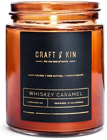 Scented Candles Soy Candle - Rustic Scented Candle Soy Candles Amber Jar Candles Scented Natural Stress Relief Candle Apartment Essentials New Home Gift Ideas House Decor (Whiskey Caramel)