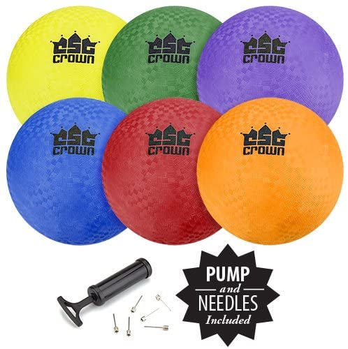"""Set of 6 Playground Balls with Hand Pump and Needles – Classic 8.5"""" Inch Inflatable Balls, Bulk Pack of Rubber Balls for Dodgeball, GaGa Pit Balls, Kickball, Foursquare, Handball, PE, & Gym Class"""