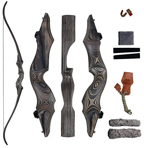 """SinoArt 58"""" Takedown Recurve Bow Bamboo Limbs Archery Right and Left Handed Riser Bow for Hunting Target Shooting 30-60Lbs"""
