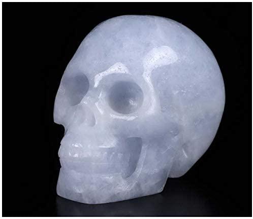"Skullis 2.0"" Blue Calcite Crystal Skull, Hand Carved Gemstone Fine Art Sculpture, Reiki Healing Stone Statue."