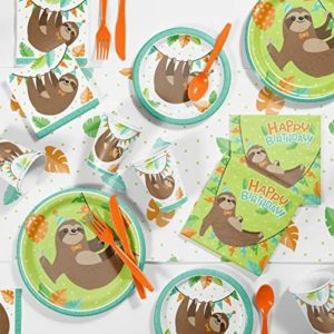 Sloth Birthday Party Supplies Kit, Serves 8