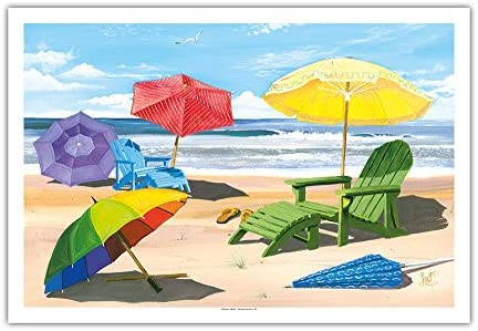 Sun Screen - Beach Chairs, Umbrellas & Ocean View - from an Original Color Painting by Scott Westmoreland - Fine Art Print - 30in x 44in