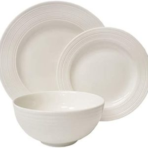 Tabletops Gallery Embossed Bone White Porcelain Round Dinnerware Collection- Chip Resistant Scratch Resistant, Contempo 12 Piece Dinnerware Set (Dinner Plate, Salad Plate, Cereal Bowl)