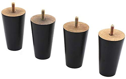 """WEICHUAN Black Round Solid Wood Replacement Sofa Couch Chair Ottoman Loveseat Coffee Table Cabinet Furniture Wood Legs Wood Furniture Legs(4"""" Set of 4)"""