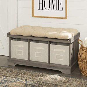 Walker Edison Furniture Company Modern Farmhouse Entryway Shoe Storage Bench Totes Upholstered Cushion Hallway Organizer, 42 Inch, Grey Wash