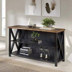 "Walker Edison Furniture Company Modern Farmhouse Solid Wood 2 Shelf Storage Bookshelf, 52"", Reclaimed Barnwood/Black"