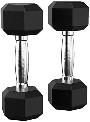 Xchenda Barbell Set Hex Rubber Dumbbell with Metal Handles Dumbbell Weight Set Training Free-Weight Racks Exercise & Fitness Dumbbells
