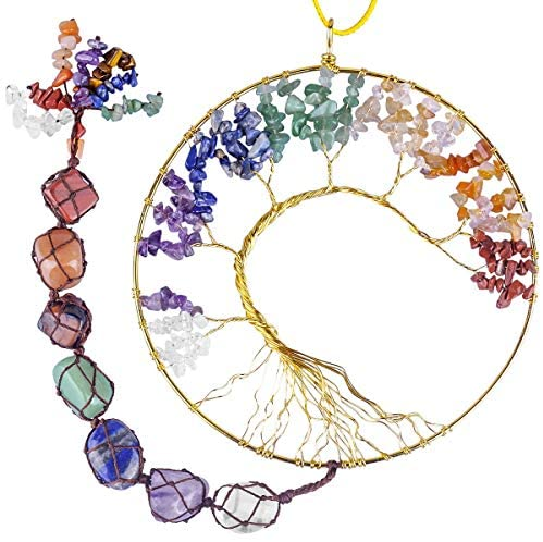rockcloud 7 Chakras Stones Healing Crystals Tree of Life Wall Hanger Tumbled Gemstones Meditation Hanging Ornament Window Ornament Wedding Souvenir Home Decor