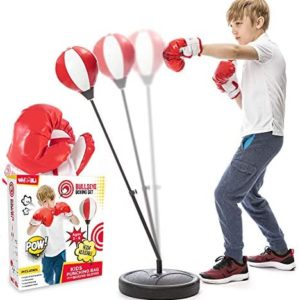 whoobli Punching Bag for Kids Incl Boxing Gloves   3-8 Years Old Adjustable Kids Punching Bag with Stand   Boxing Bag Set Toy for Boys & Girls