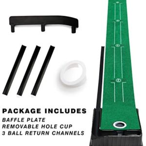 Champkey PUTTECH PRO Golf Putting Mat - Adjustable Hole & Automatic Ball Return Golf Putting Green - Alignment & Distance Training Mat Gift for Home, Office, Outdoor Use