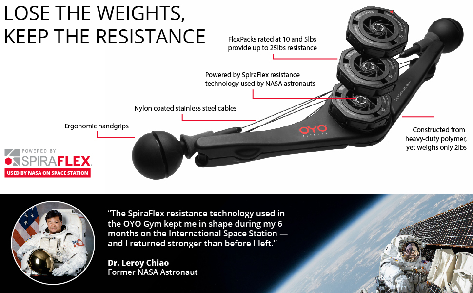 Lose the weights, keep the resistance. Powered by spiraflex used by NASA on space stations