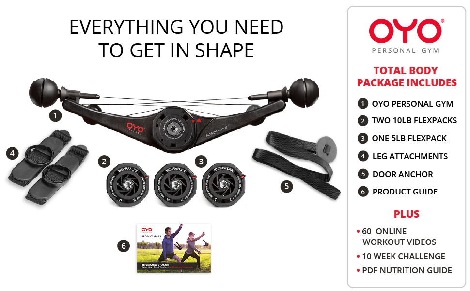 Everything you need to get in shape, OYO personal gym, flexpacks, leg attachments, door anchor