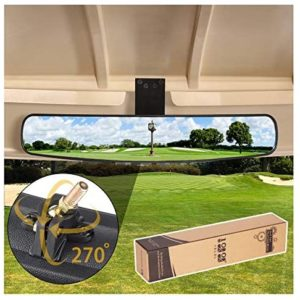 "10L0L Adjustable Rotatable Golf Cart Rear View Mirror, Universal Safe 270 Rotation 16.5"" Extra Wide Rear View Convex Golf Cart Mirror for EZ Go, Club Car, Yamaha"