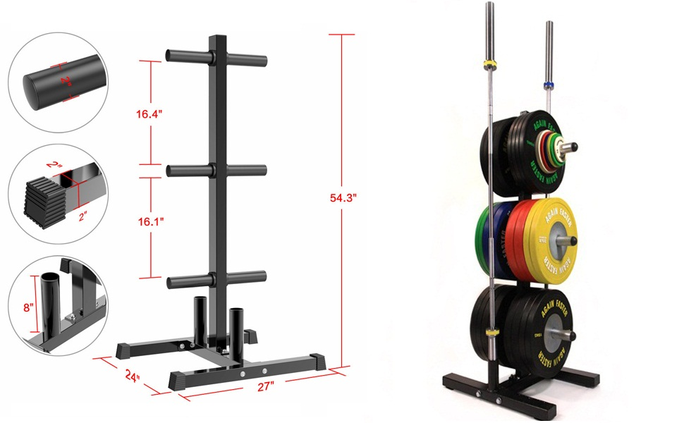weight plate tree and barbell bar stand holder