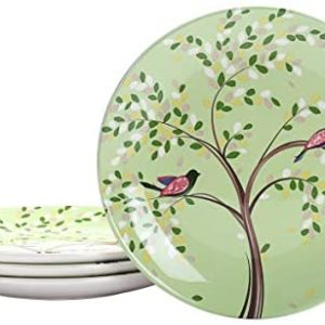Bico Bird On Tree Ceramic Salad Plates, 8.75 inch, Set of 4, for Salad, Appetizer, Microwave & Dishwasher Safe
