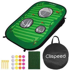 CLISPEED Backyard Golf Cornhole Game Set Pop Up Golfing Chipping Net Includes 16 Training Balls,1 Hitting Mat and 4 Stakes