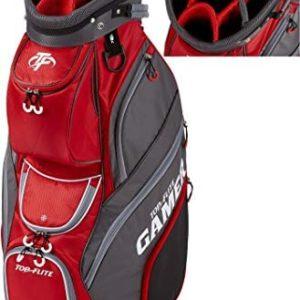 2019 Top-Flite Gamer Golf Cart Bag 14-Way Top 9 Pockets Mesh Carry Strap Beverage Cooling