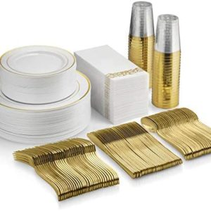 350 Piece Gold Dinnerware Set - 50 Guest Gold Rim Plastic Plates - 50 Gold Plastic Silverware - 50 Gold Rim Plastic Cups - 50 Linen Like Gold Paper Napkins, 50 Guest Disposable Gold Dinnerware Set