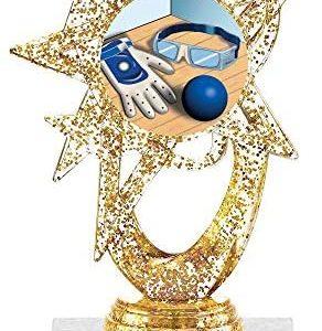 """5.5"""" Gold Glitter Handball Trophies, Custom Astral Star Handball Trophy Award Prime"""