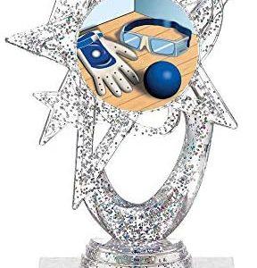 """5.5"""" Silver Glitter Handball Trophies, Custom Astral Star Handball Trophy Award Prime"""