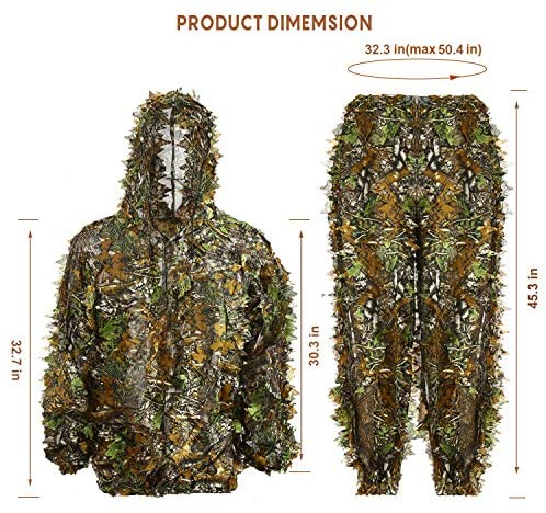 adult hunting suit 3d jungle outfit costume wildlife halloween evorazon ghillie camouflage sniper leafy hooded woodland camo clothing