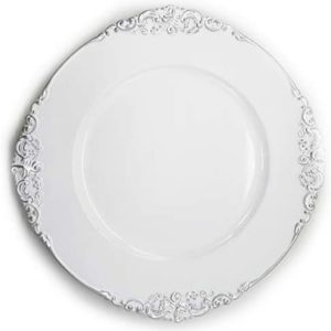 Allgala 13-Inch 6-Pack Heavy Quality Round Charger Plates-Floral White Silver Trim-HD80342