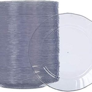 AmazonBasics Disposable Clear Plastic Plates, 100-Pack, 7.5-inch