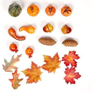 Artificial Pumpkin for Autumn Decorations, Fake Maple Leaves, Gourds, Pine Cones and Acorns Fits for Halloween Thanksgiving (Small Size)