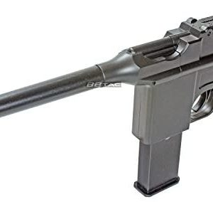 BBTac BT-712 World War II 165 FPS C96 Metal Zinc Alloy Airsoft Pistol with Magazine,black