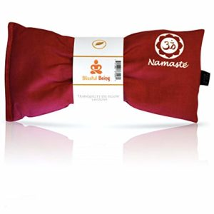 Blissful Being Namaste Yoga Eye Pillow with Lavender - Hot or Cold Weighted Eye Mask Perfect for Savasana, Meditation, Relaxation or Yoga - Soft, Organic Cotton (Pink)