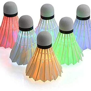Callm 6 Pack LED Badminton Shuttlecocks Lighting Duck Feather Birdies Shuttlecock Glow in The Dark Badminton for Indoor/Outdoor Sports Activities (Multicolor Dimming)