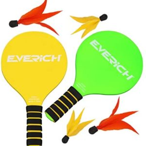 EVERICH TOY Novelty Paddles Ball Game for Kids-Lawn Outdoor Games for Family-Fun Backyard Game for Kids and Adult(2 Rackets,2 Slow Birdies,2 Fast Birdies,1 Carry Bag)