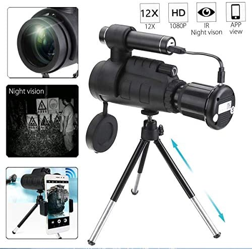 GJNVBDZSF 40x60 HD Infrared Night Vision Monocular Telescope HD Optical Smartphone Lens for Outdoor Hunting +Tripod Phone Holder