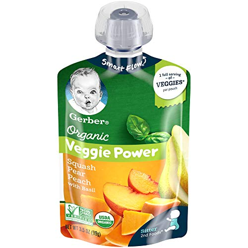 Gerber Purees Organic Pouch, Squash, Pear & Peach with Basil, 3.5 Ounces (Pack of 12)
