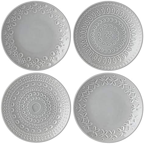 KATE SPADE Willow Drive8482 4-Piece Tidbit Plate Set, 1.9 LB, Taupe/Grey