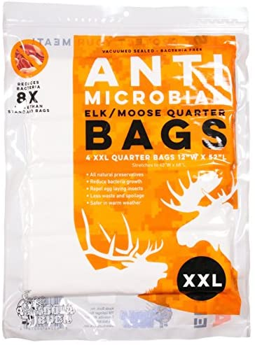 Koola Buck Pest Repelling Heavy-Duty Reusable Hunting Game/Meat Bags - Choice of 4-Pack Quarter Bags L, XL, XXL & 1-Pack Full Body - Wild Game: Deer, Elk, Moose, Caribou, Antelope & Hogs