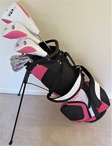 Ladies Complete Pink Deluxe Golf Club Set - Driver, Fairway Wood, Hybrid, Irons, Putter, Clubs and Stand Bag Graphite Womens Right Handed