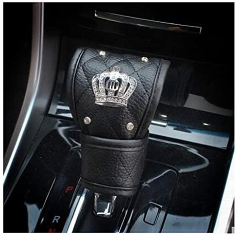 LuckySHD Black Pu Leather Car Gear Shift Cover with Bling Rhinestones Imperial Crown Decor Car Accessory