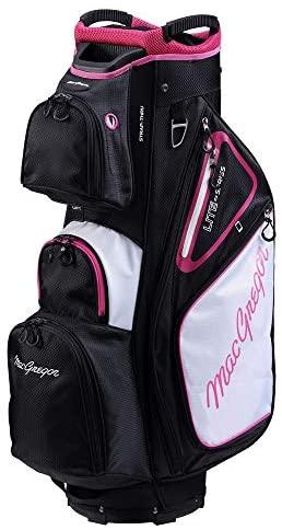 """MACGREGOR Golf VIP Deluxe 14-Way Ladies Cart Bag, 9.5"""" Top, Black/White/Pink"""