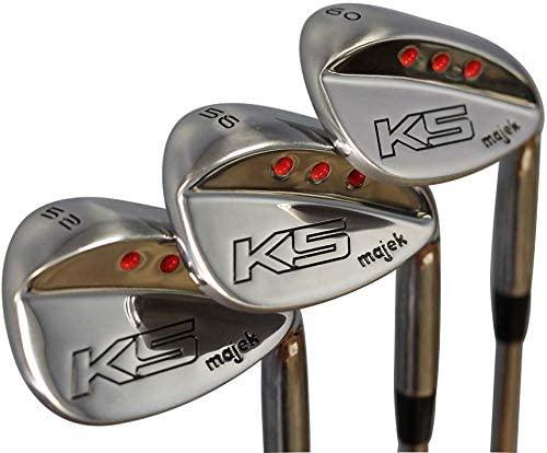 Majek Golf Men's Complete Wedge Set: 52° Gap Wedge (GW), 56° Sand Wedge (SW), 60° Lob Wedge (LW) Right Handed Stiff Flex Steel Shaft