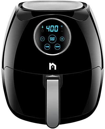 New House Kitchen Digital 6.8 Quart Air Fryer w/ Flat Basket, Oil-Free Touch Screen AirFryer, Dishwasher-Safe Parts, Fast Healthier Food, 60 Min Timer & Auto Shut Off, Extra Large Family Size, Black